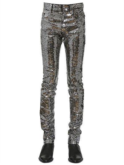 dc0bdfc6de416 SAINT LAURENT 15Cm Sewn Sequins Cotton Denim Jeans