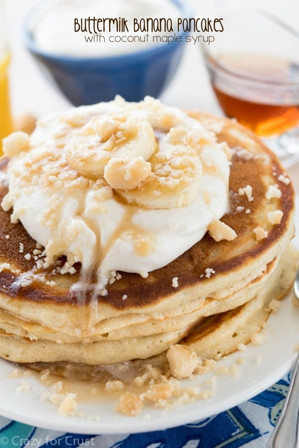 Buttermilk Banana Pancakes With Coconut Maple Syrup Recipe With Images Buttermilk Banana Pancakes Banana Recipes Banana Pancakes