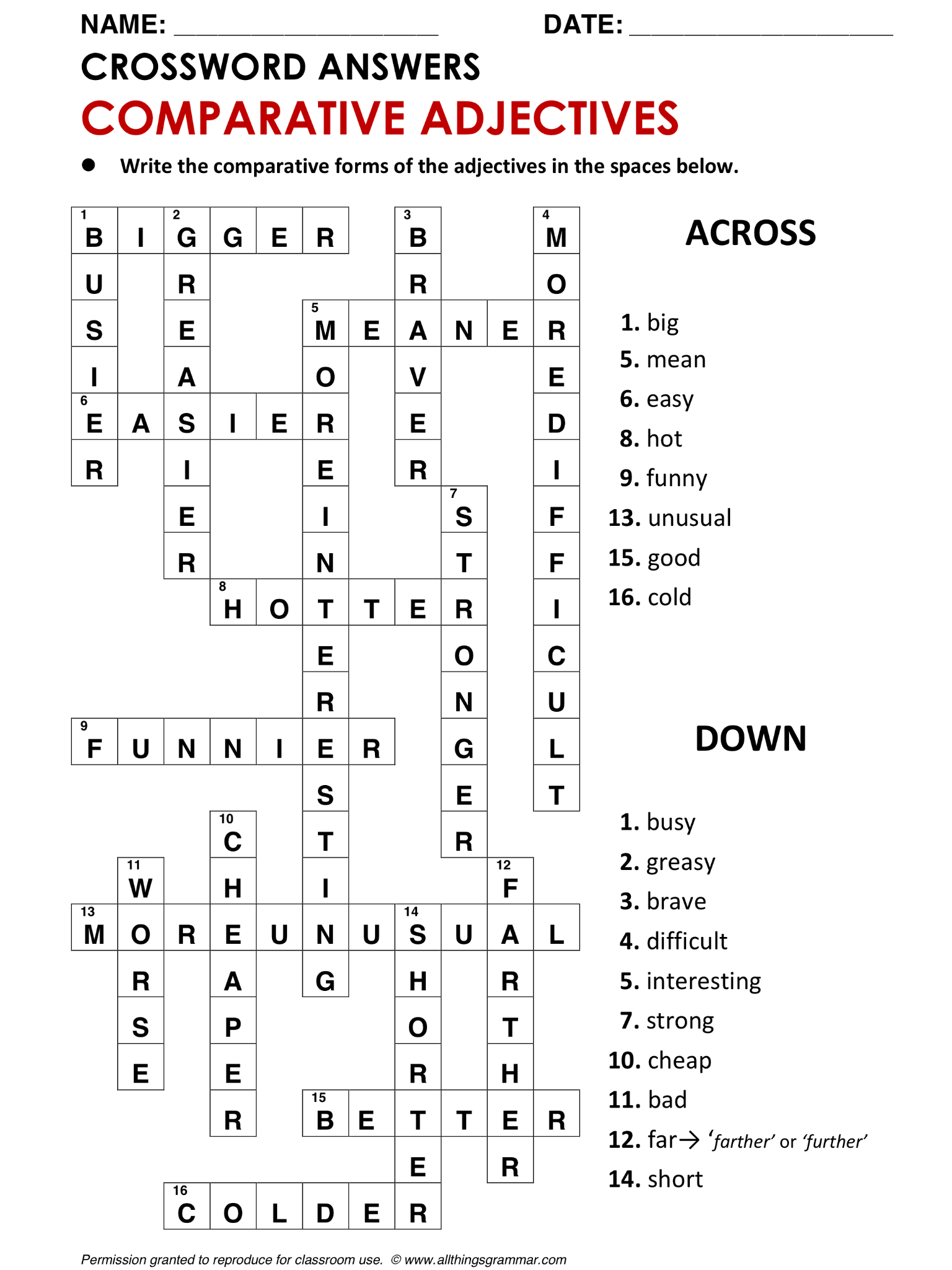 English Grammar Crossword Comparative Adjectives