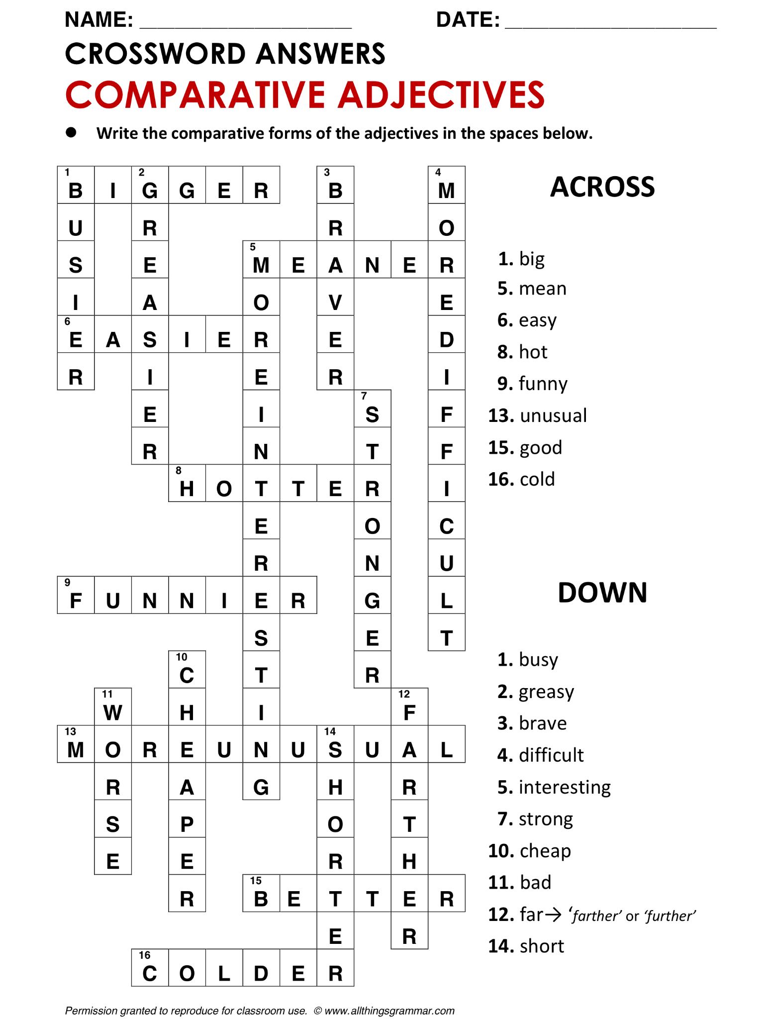 English Grammar Crossword Comparative Adjectives