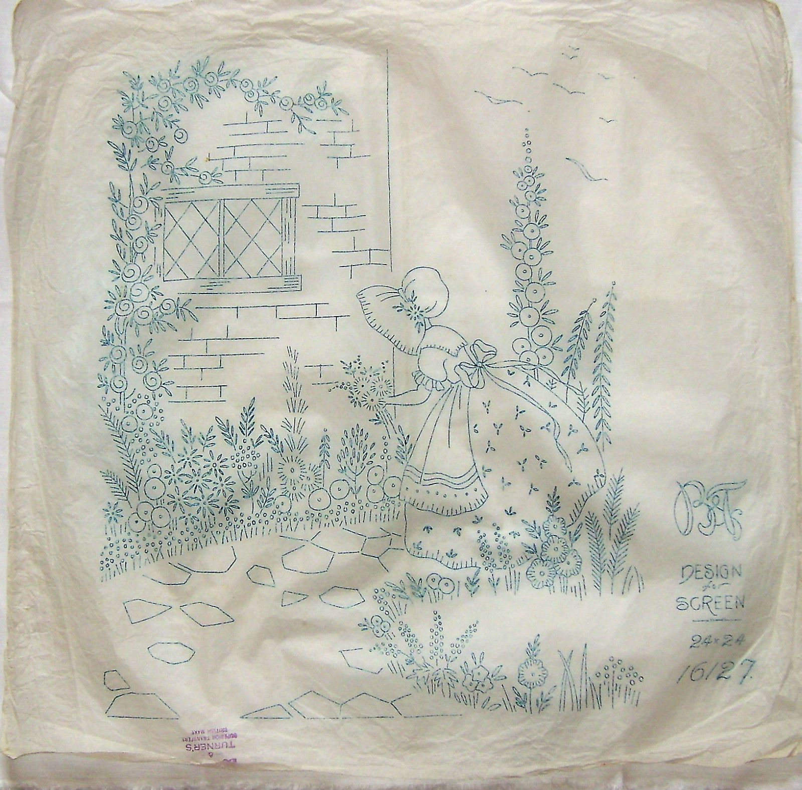Vintage Boynton embroidery HUGE transfer - Crinoline Lady & Cottage ...