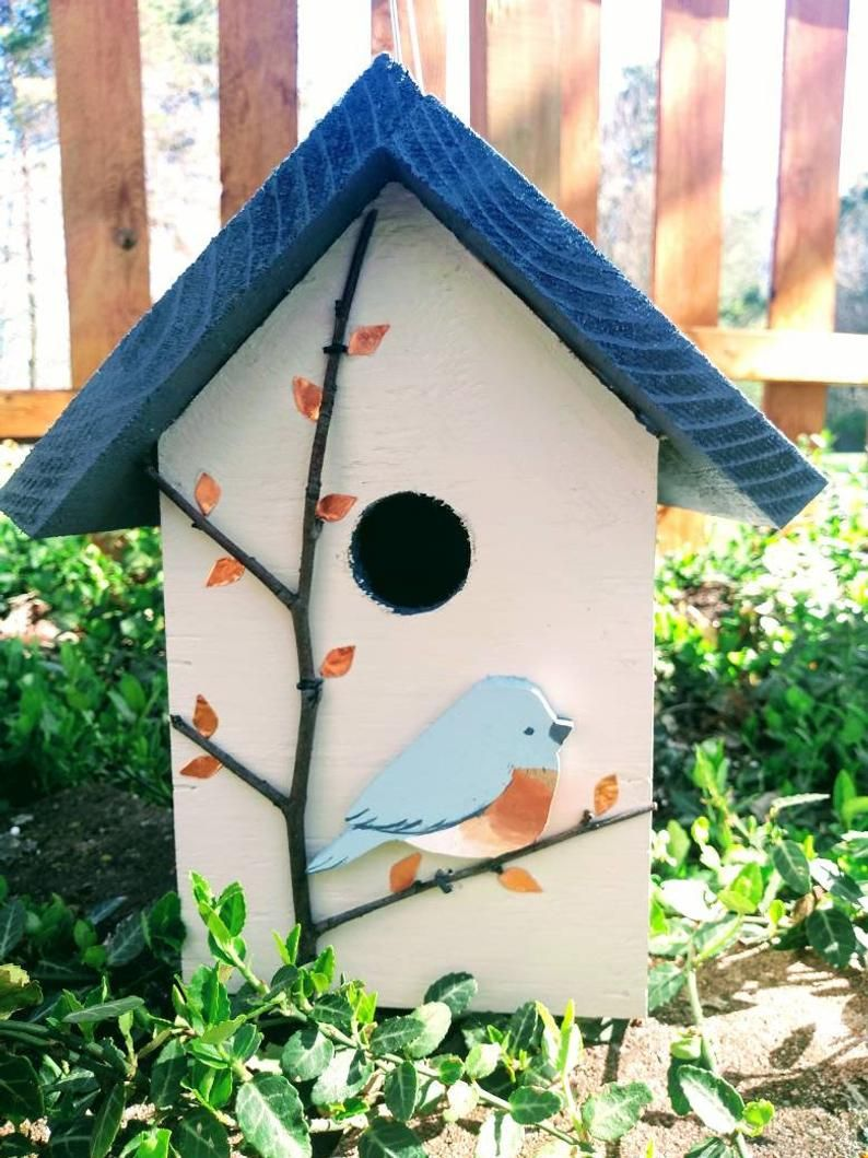 Handmade And Painted Wood Birdhouse Copper Accentsreal Etsy In 2020 Bird Houses Painted Decorative Bird Houses Bird Houses Ideas Diy
