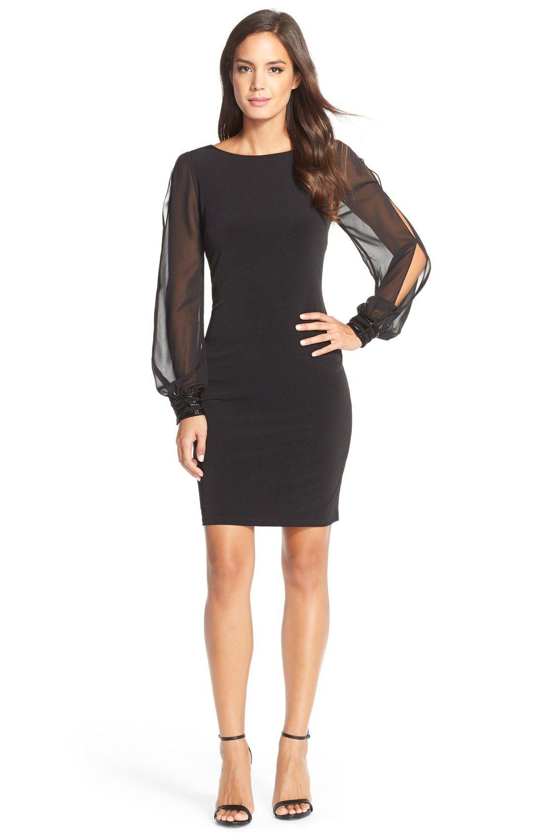 Ivanka Trump Chiffon Sheath Dress Nordstrom Long Sleeve Chiffon Dress Long Sleeve Sheath Dress Black Sheer Dress [ 1687 x 1100 Pixel ]