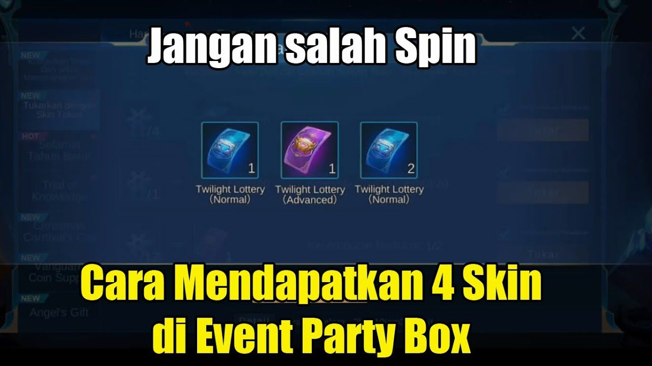 Cara Mendapatkan 4 Skin Gratis Di Event Party Box Party In A Box Event Party