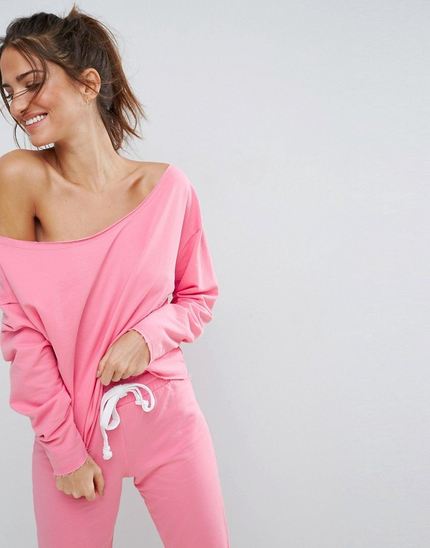 ASOS LOUNGE Off Shoulder Raw Edge Sweat - Pink   Products ...