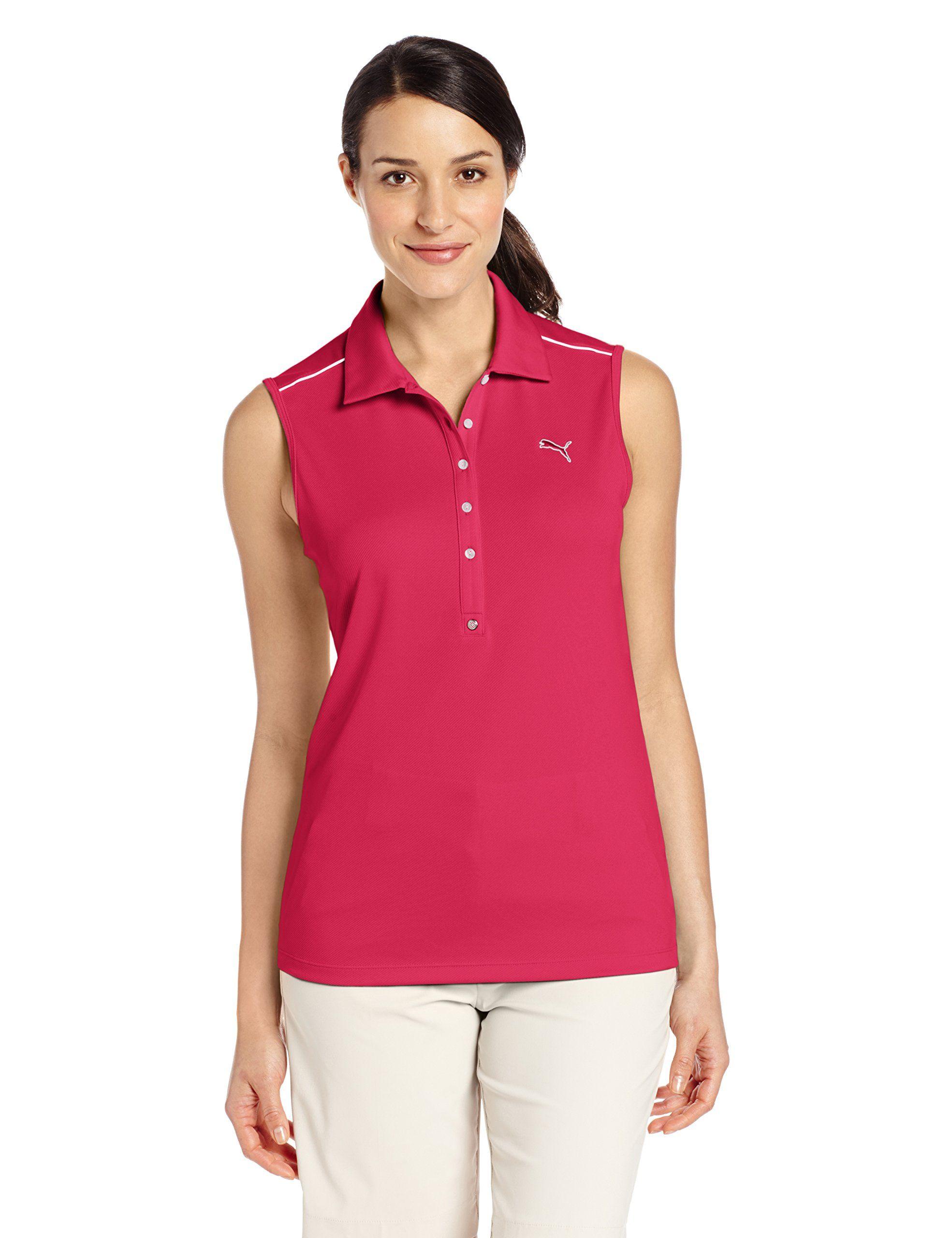 7b980f0168235 Women Golf Clothing - PUMA Golf NA Womens Tech Sleeveless Polo Fuchsia  Purple Small