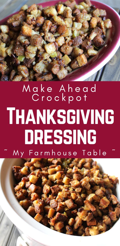 Crockpot Thanksgiving Dressing - My Farmhouse Table #stuffingrecipes