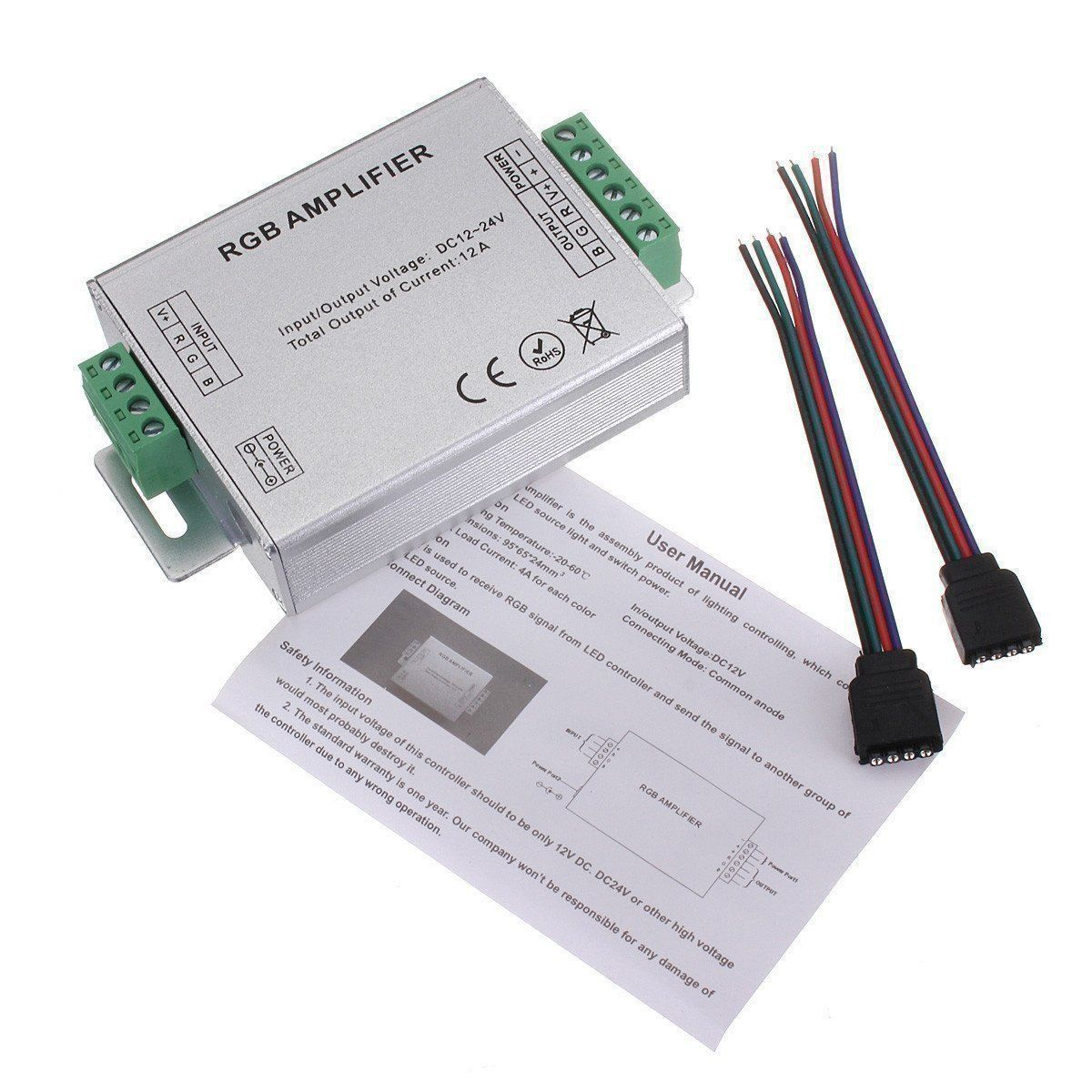 Rgb Smd 5050 Led Strips Light Signal Amplifier 12v 12a Products Wiring Diagram For