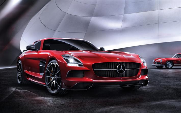 Lataa kuva Mercedes-Benz SLS AMG, C197, kilpa-auto, punainen SLS, saksan autoja, Mercedes