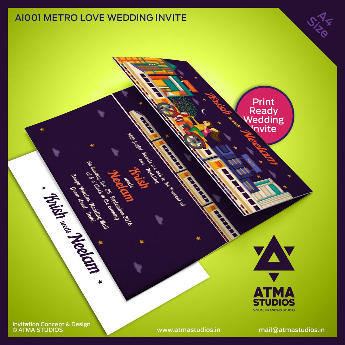 Metro Love Indian Wedding Invite Print Ready Template indian