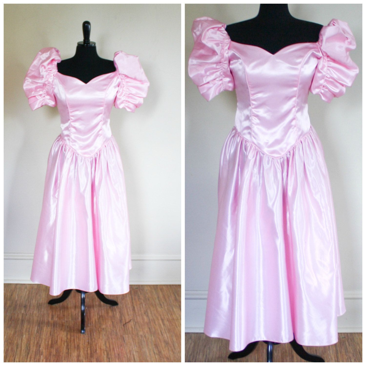 645d770ea9d80 Vintage 1980s Pink Princess Prom Gown Shiny Metalic Puff Sleeves Tea Length  by TempleKatVintage on Etsy