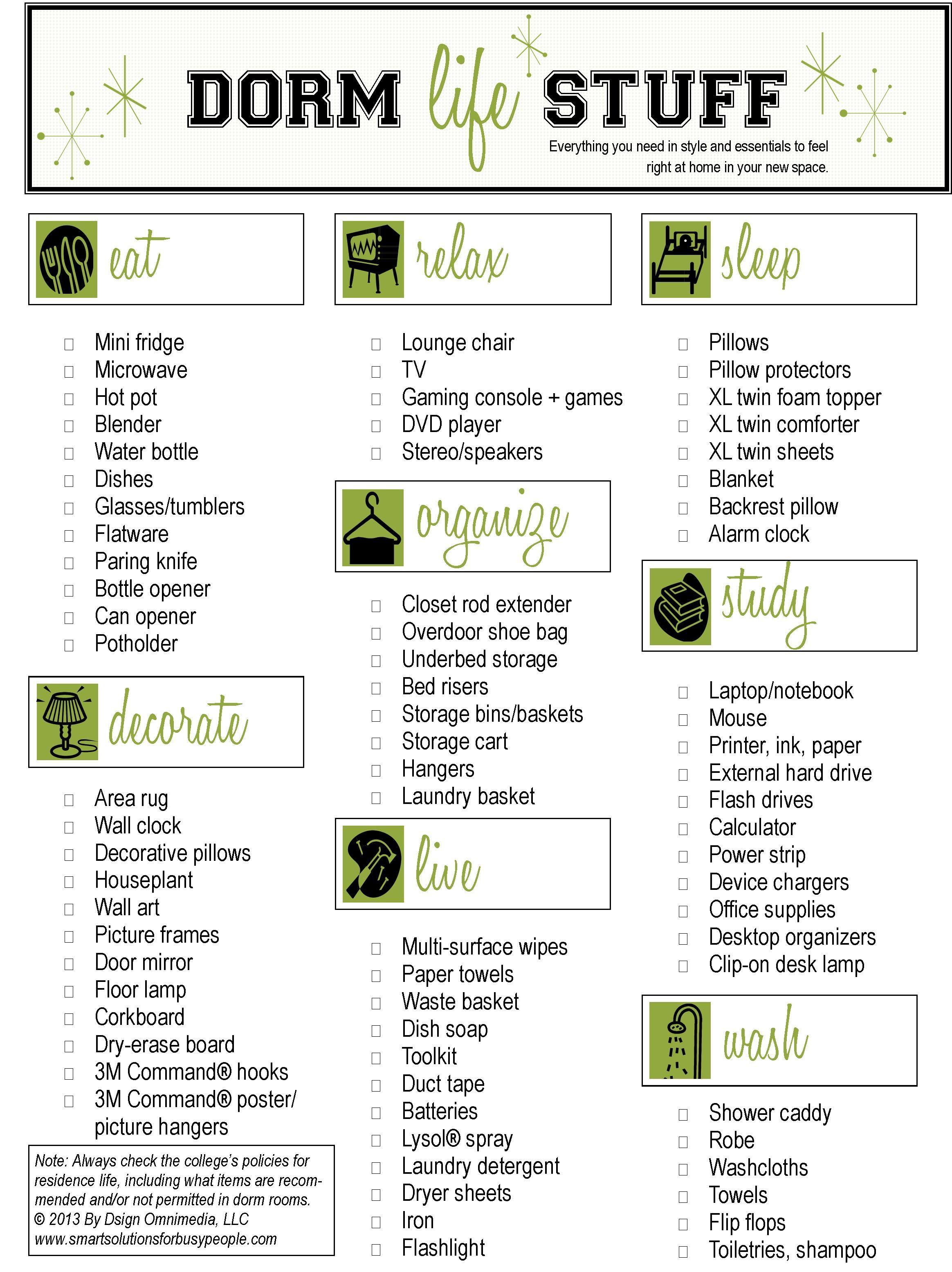 Dorm Life Checklist 1,164×1,555 Pixels Part 27