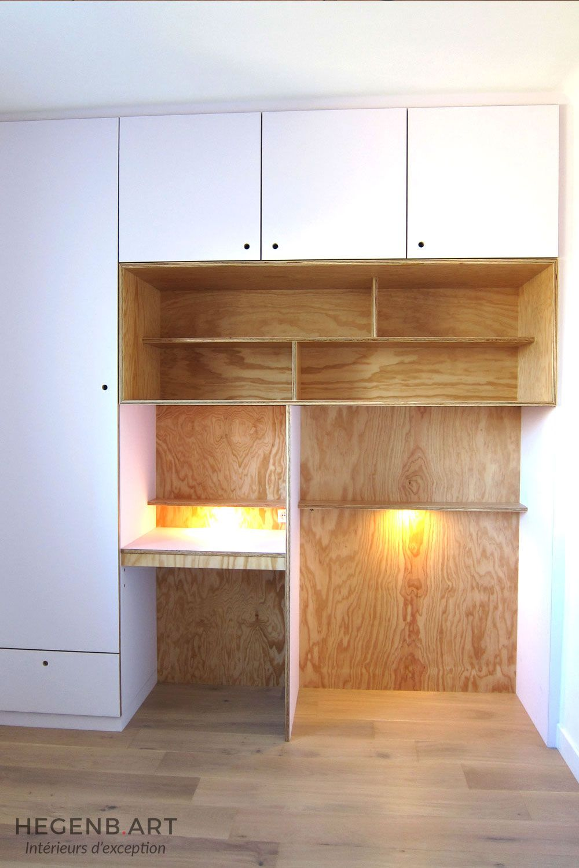 Rangement-chambre-enfant-bureau-tebopin-bois-blanc-éclairage ... - Bureau Placard