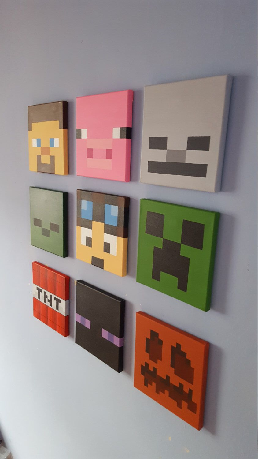 Minecraft wall art set of 9 canvases small 8 x 8 by for Bed decoration minecraft