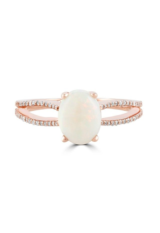 Effy Aurora 14K Rose Gold Opal and Diamond Ring 114 TCW Very