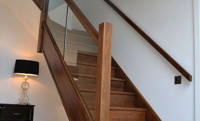 Best Contemporary Walnut Staircase With Glass Detail Private 400 x 300