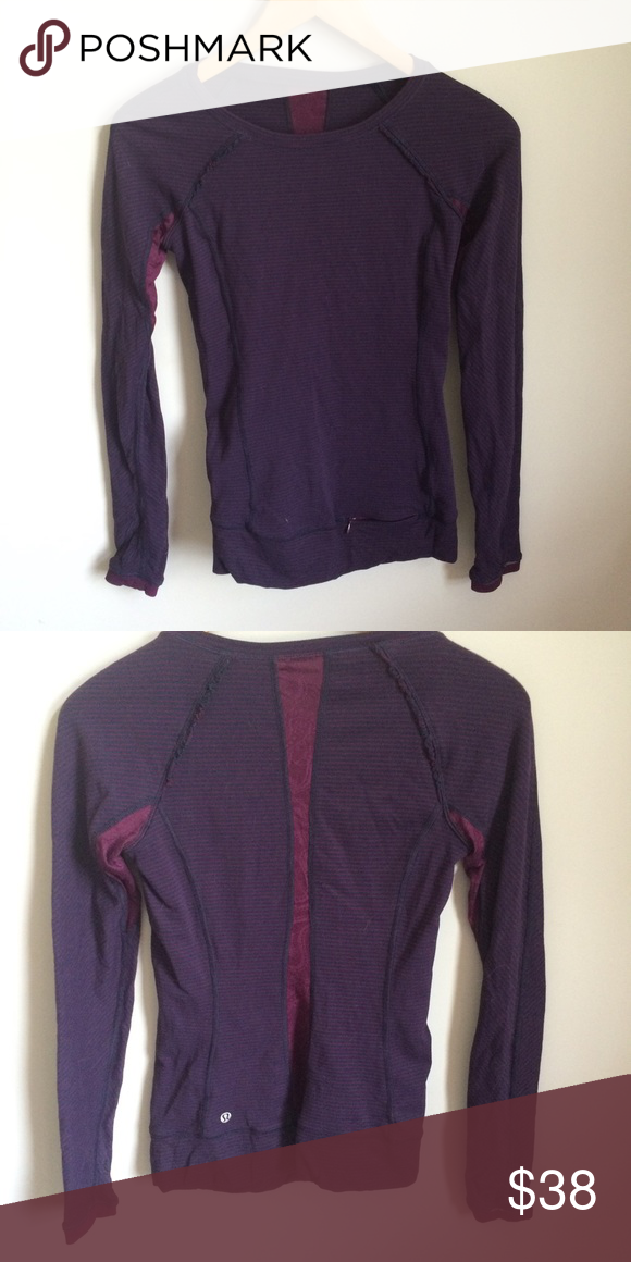 Long Sleeved Lululemon Run Shirt Maroon with blue stripes. Lace inlay at back. Zipper pocket at hip. Thumb holes. Excellent condition. lululemon athletica Tops