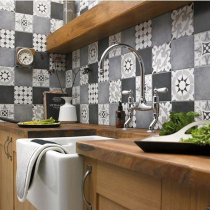 Kitchen Tiles Homebase parian patchwork decor greys porcelain wall & floor tile 12 pack