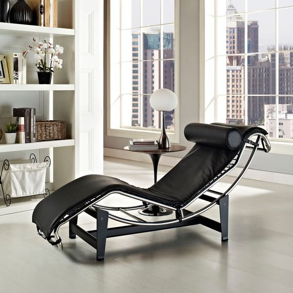 Le Corbusier Style LC4 White Genuine Leather Chaise Lounge ...