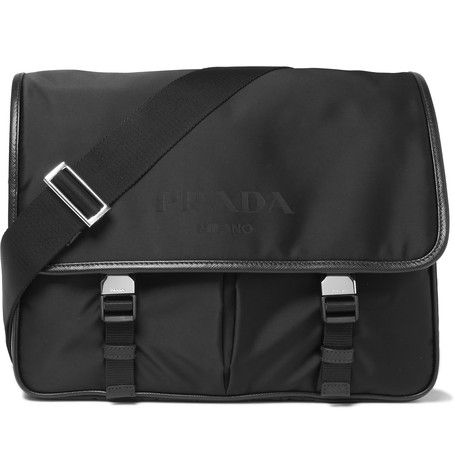 da1a80a7a860 PRADA Leather-Trimmed Shell Messenger Bag. #prada #bags #shoulder bags  #leather #canvas #