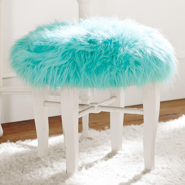 Himalayan Pool Glam Vanity Stool Tween Girl Bedroom Turquoise