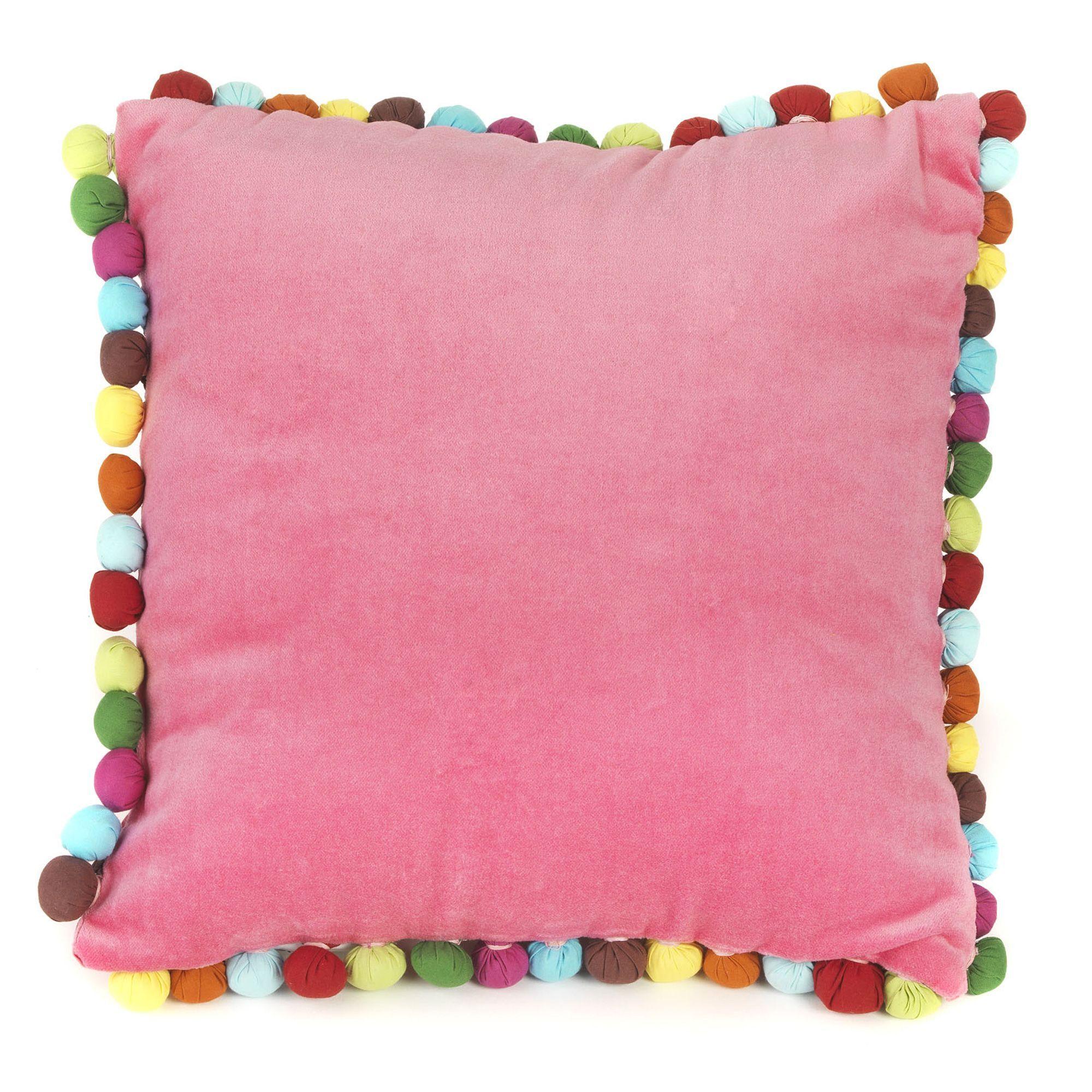 coussin enfant rose pompom les coussins de sol enfants les tapis rideaux et coussins. Black Bedroom Furniture Sets. Home Design Ideas