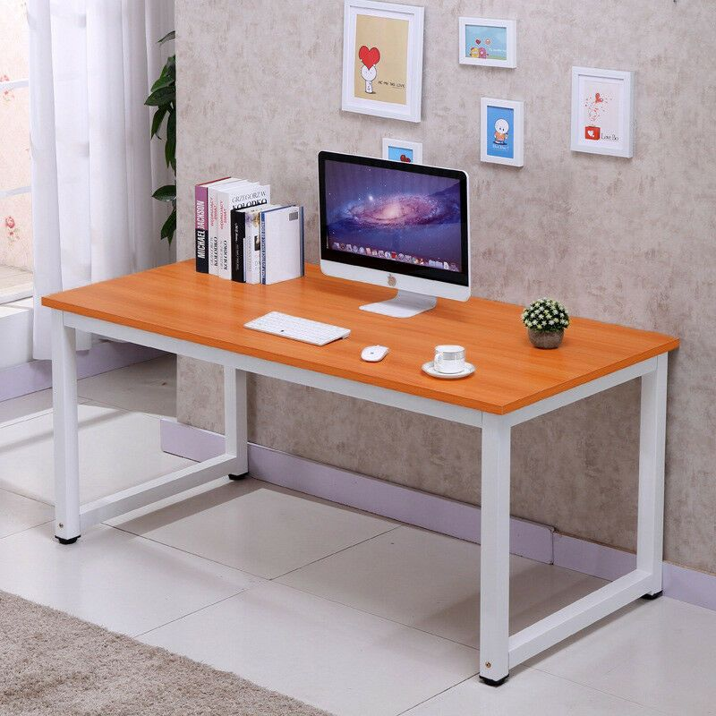 Computer Desk Brown Wood Pc Laptop Table Workstation Study Home
