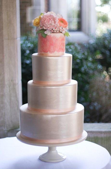 Metallic cake designed by Erica O'Brien