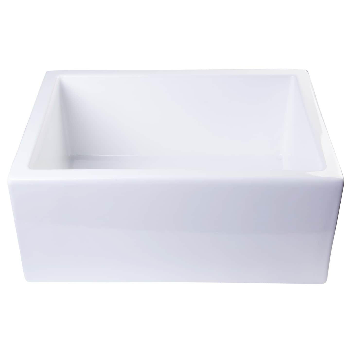 Alfi Brand White Fireclay 24 Inch Undermount Kitchen Sink