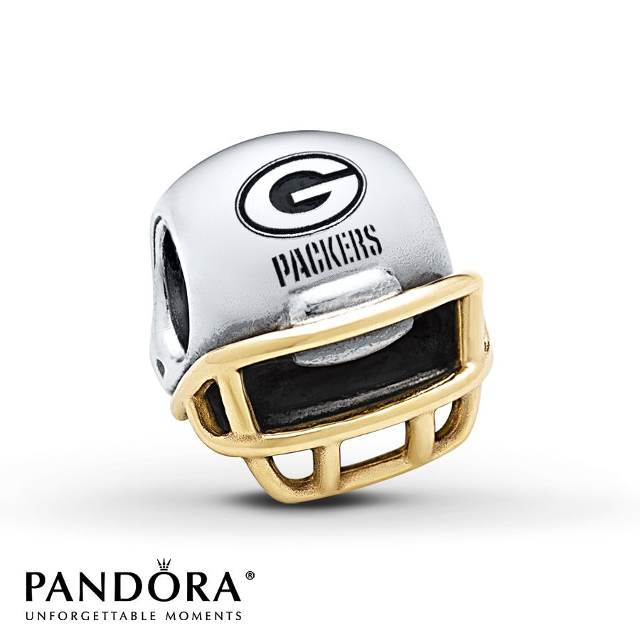Pandora Charm Green Bay Packers Sterling Silver14k Gold