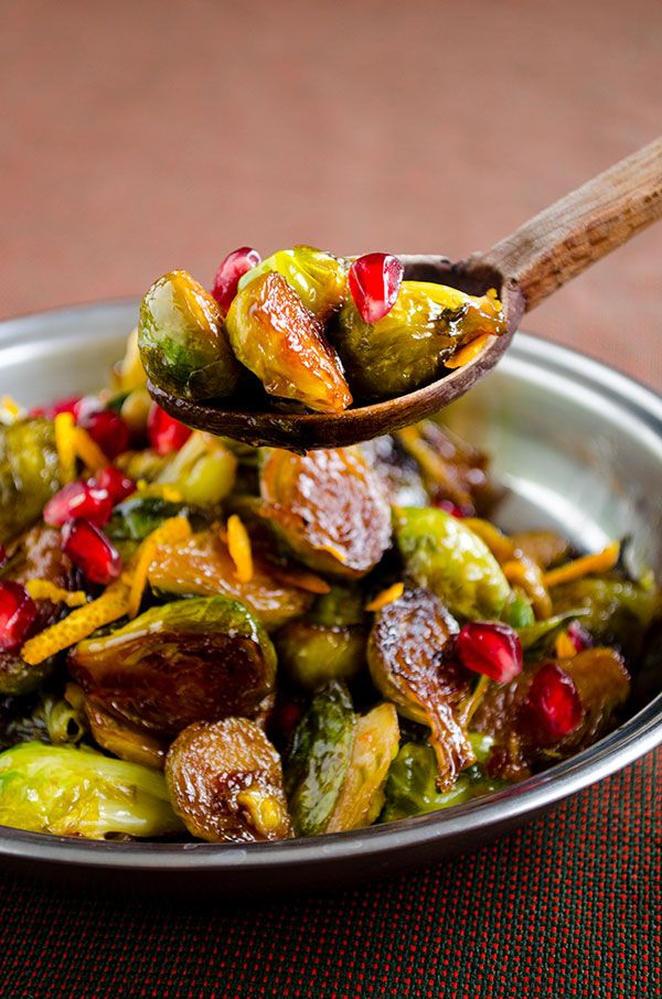 Citrus caramelized brussels sprouts with pomegranate molasses | giverecipe.com | #brusselssprouts