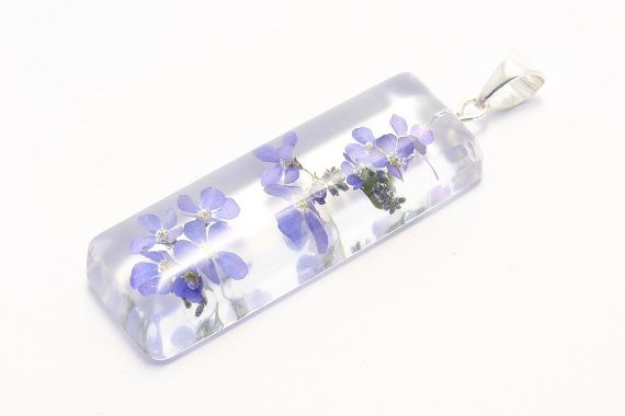 Flower pendant: rectangular with forget-me-nots on by pulchrapl