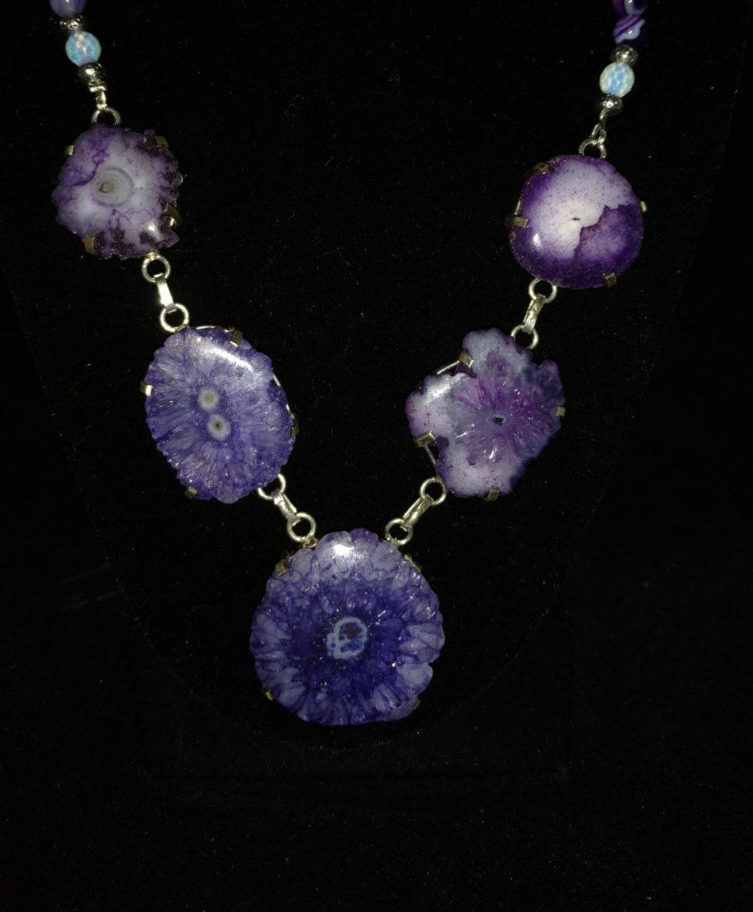 Purple Agate Druzy Necklace by KarinsForgottenTreas on Etsy