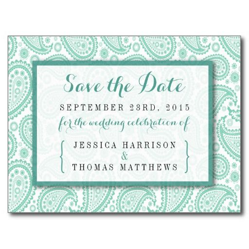 """Simple yet elegant, the modern paisley wedding collection is a stunning design featuring a lovely paisley print in a soft green and white color, which is perfect for any modern wedding celebration. <br> <br> These save the date postcards can be personalized for your special occasion and would make the perfect announcements for your wedding, bridal shower, engagement party, birthday party and many more special occasions. <br> <br> Add your custom wording to this design by using the """"Edit this…"""