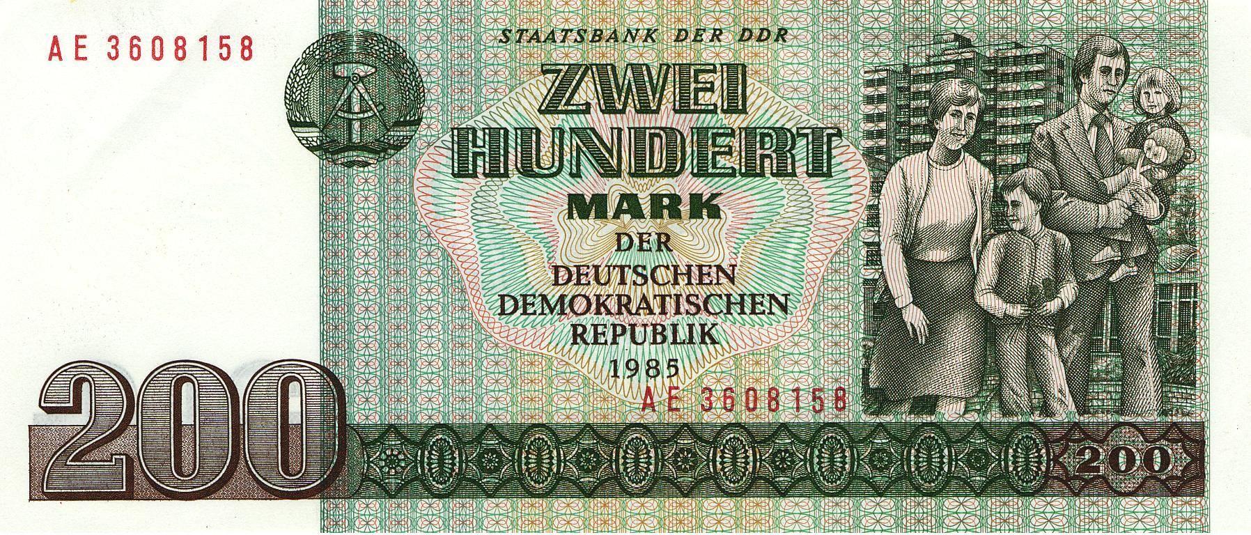 DDR Banknote 200 Mark Ddr, Ostdeutschland und Deutsche mark