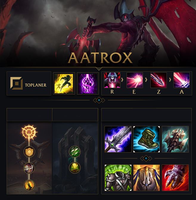 Melhore seu ranking e suas habilidades explorando nossos Guias da temporada  8. Runas para Aatrox Progressão de Habilidade Build Aatrox Início do jogo O  ...