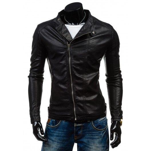 Pánska kožená bunda v čiernej farbe so zipsom - fashionday.eu ... 5407d105266