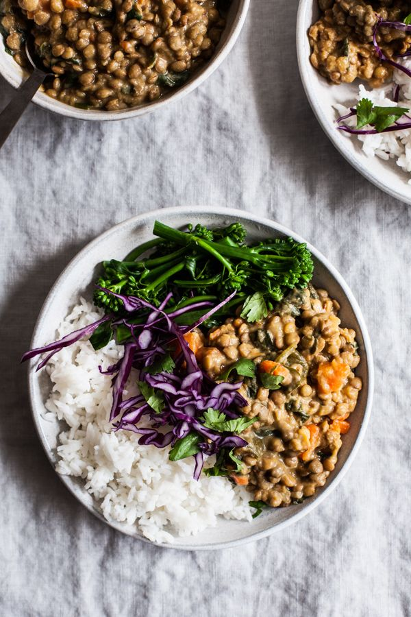 Creamy Coconut Curried Green Lentils Bowls