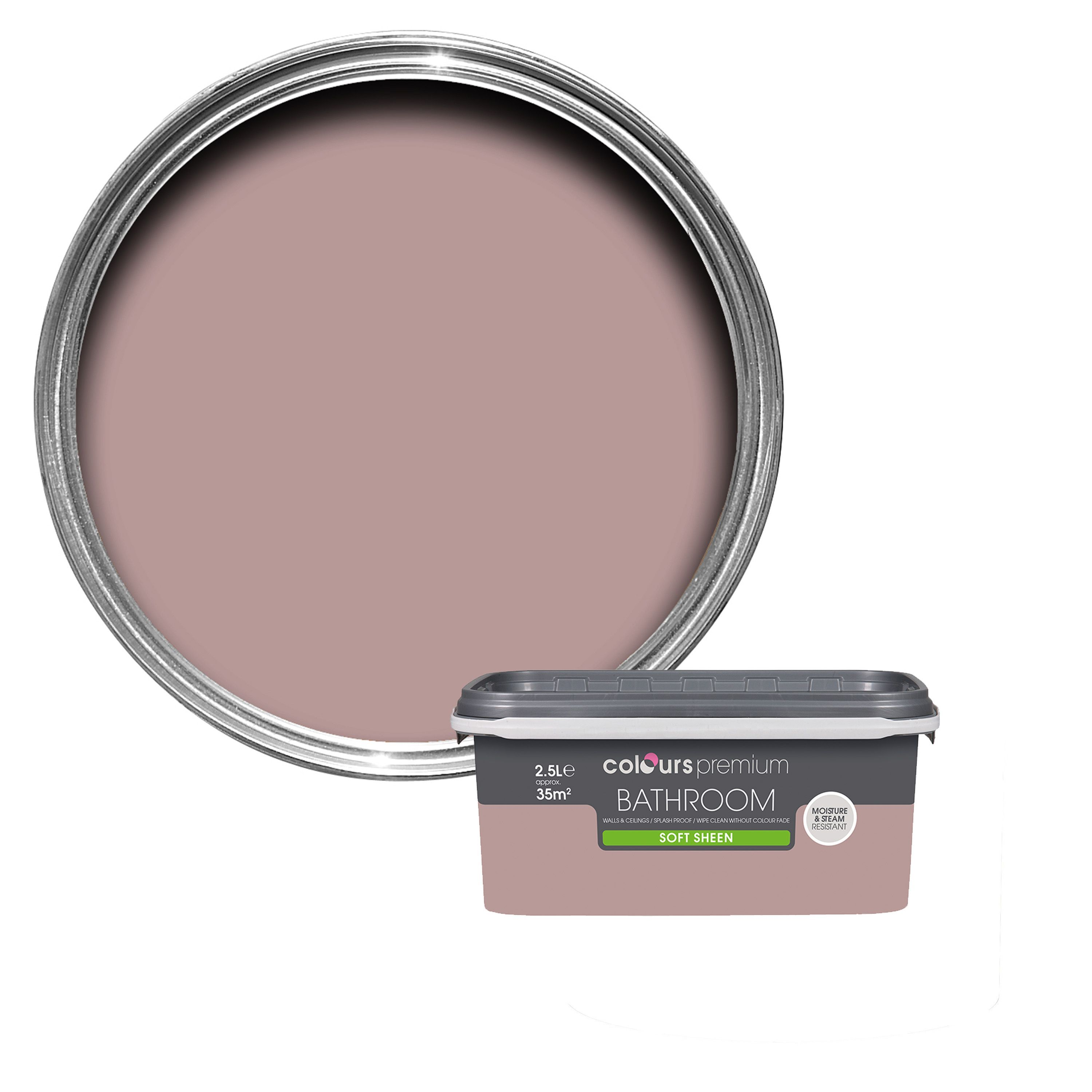 Colours Bathroom Muted Rose Soft Sheen Emulsion Paint 2 5l Departments Diy At B Amp Q Bathroom Colors Soft Sheen Painting Bathroom