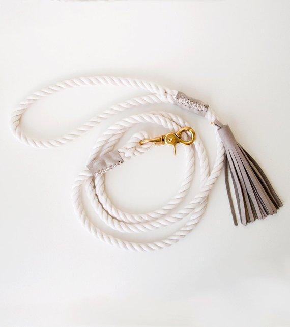 Rope Dog Leash Charcoal Grey Pet Lead Italian