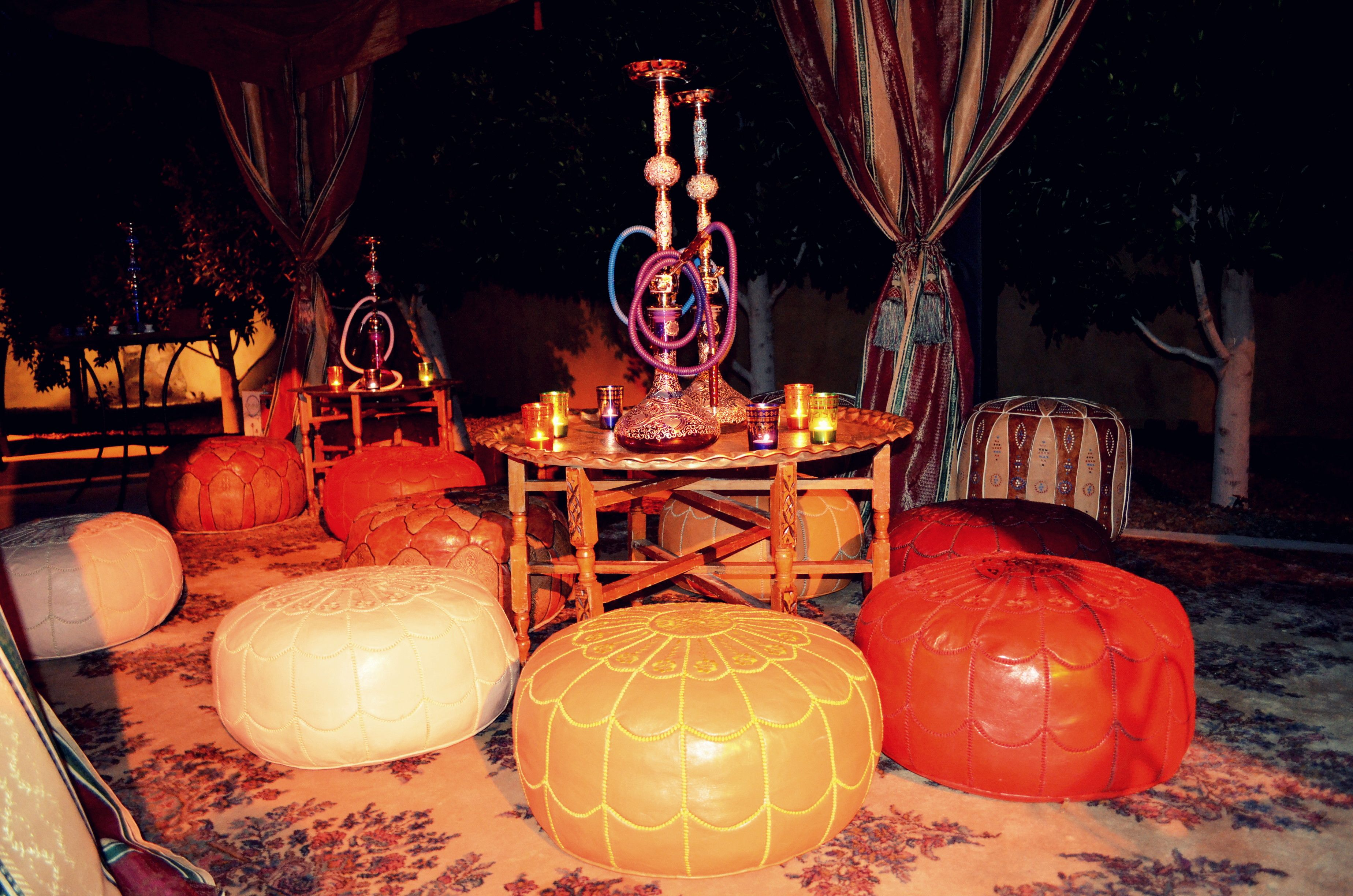 Hookha theme party theme guests were able to relax for Arabian nights decoration ideas