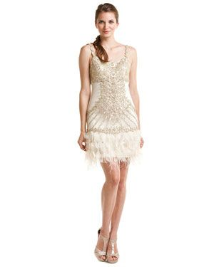 Sue Wong Champagne Beaded Feather Drop Waist Dress