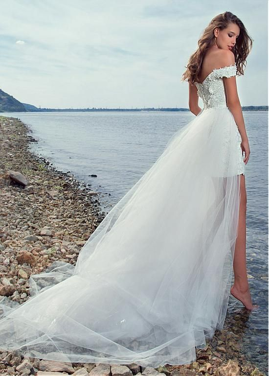 Pretty Lace & Tulle Off-the-shoulder Neckline 2 In 1 Wedding Dress ...