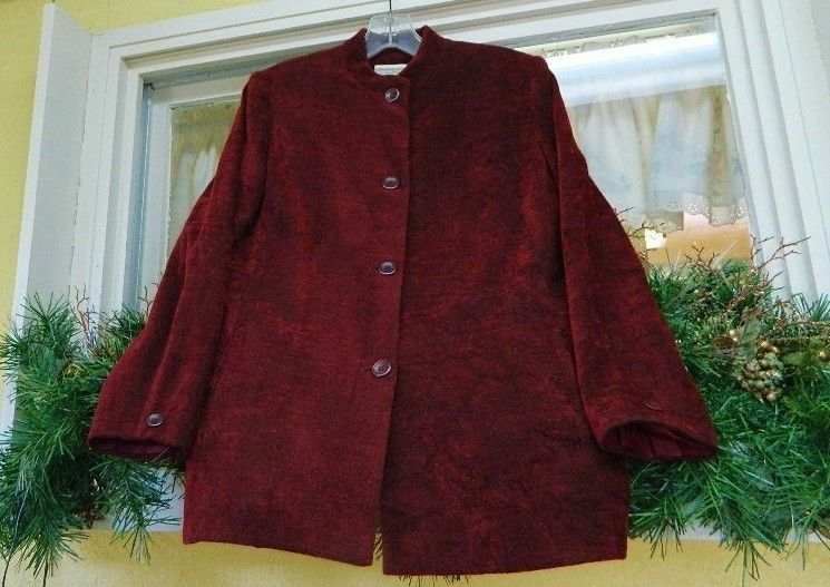 Coldwater Creek Tapestry Jacket 8 Dark Red Mandarin Nehru Chenille #ColdwaterCreek #Blazer