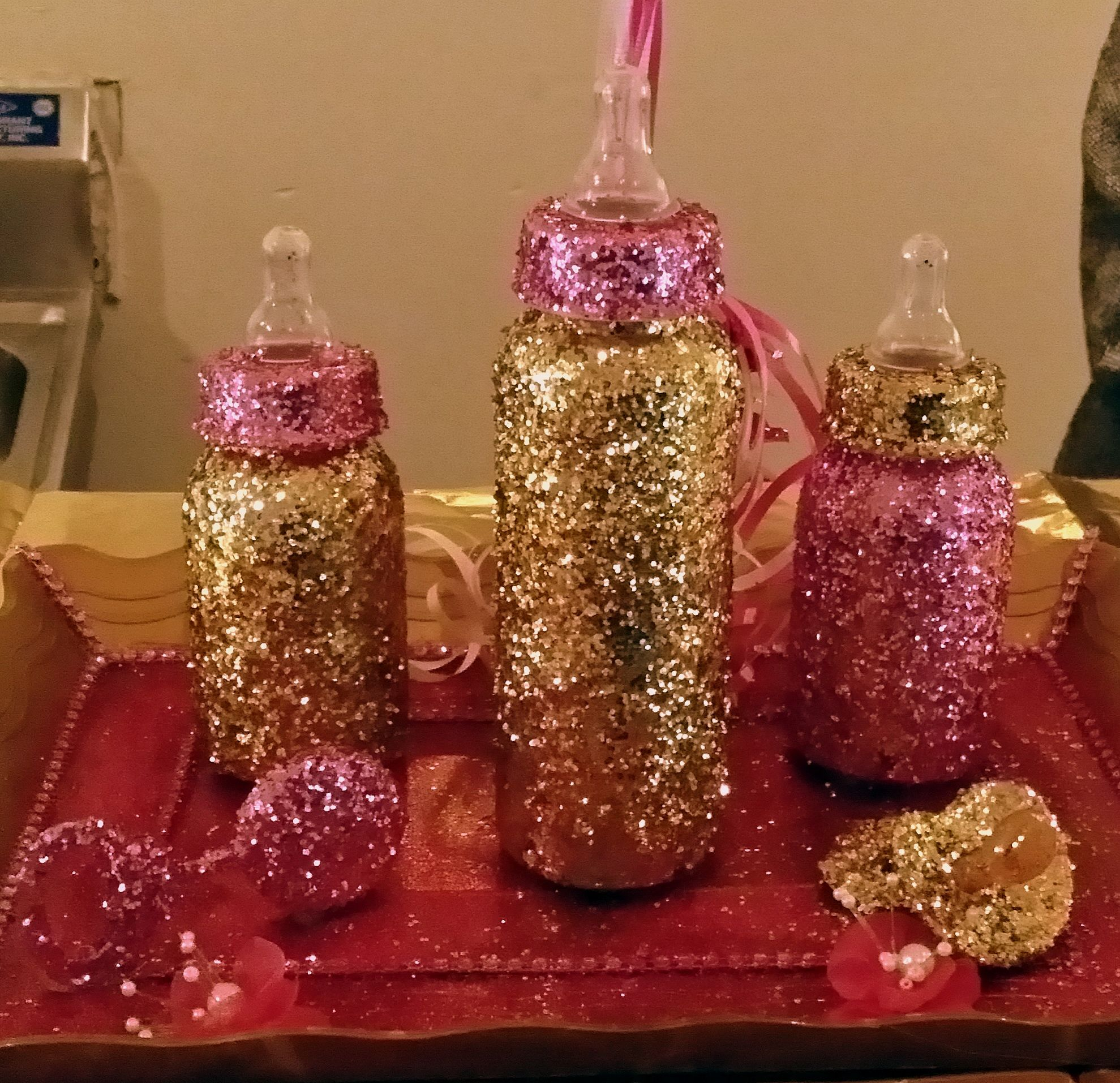 Three piece glitter bottle set with pacifier and rattle for Baby bottle decoration ideas