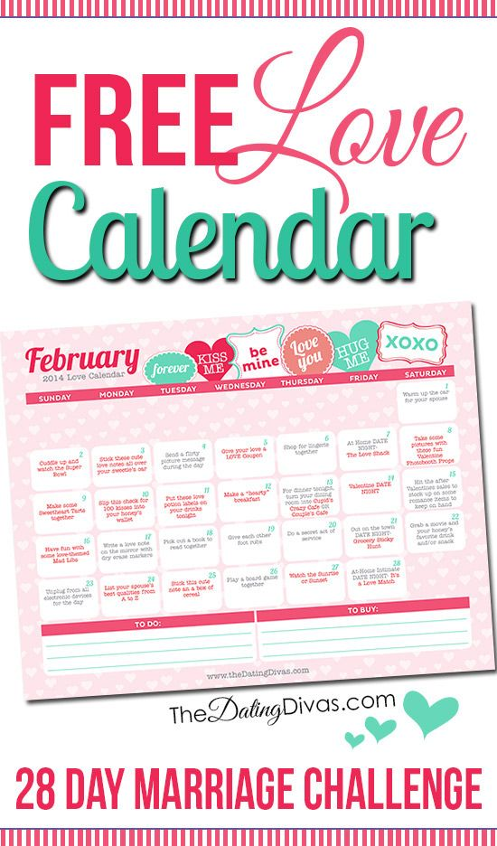 Love Calendar Ideas : Free february love calendar each day and marriage