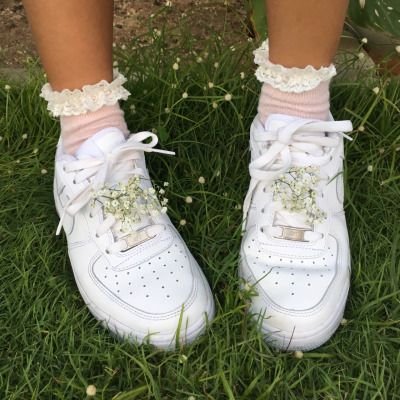 05d79dc60e8db white nike air force one shoes ✓ pink socks   shoes   Shoes, Frilly ...