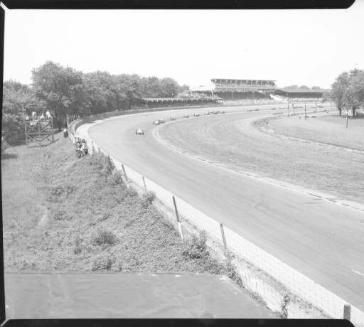 Drivers charge through the Southwest Turn on the first lap of the 1949 Indy 500.