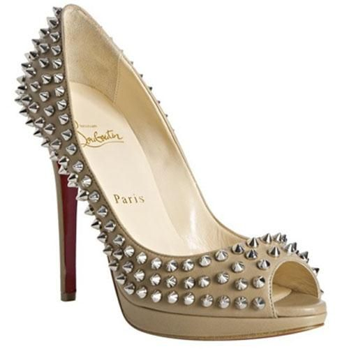 Discount Christian Louboutin Yolanda Spikes 120 Peep Toe Pumps Beige Outlet  Online For Sale
