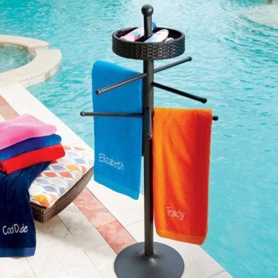 Resin Wicker Freestanding Towel Bar Pool Towels Towel Rack Pool Pool Towel Holders